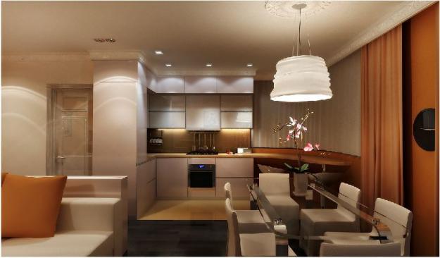 Дизайн интерьера гостиной и кухни