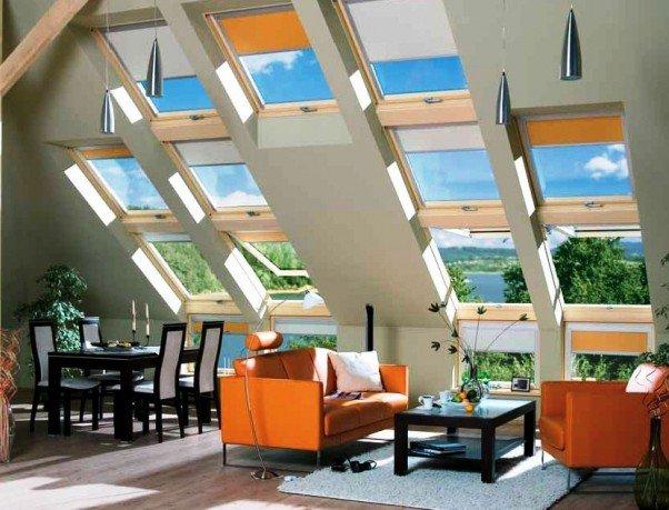 Современные мансардные окна в интерьере.