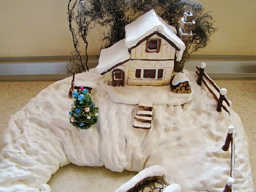 Способы изображения снега на зимних поделках