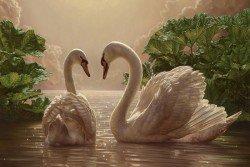 """Предпросмотр схемы вышивки  """"лебеди на пруду """". лебеди на пруду, пейзаж, природа, парк, озеро, пруд, предпросмотр."""