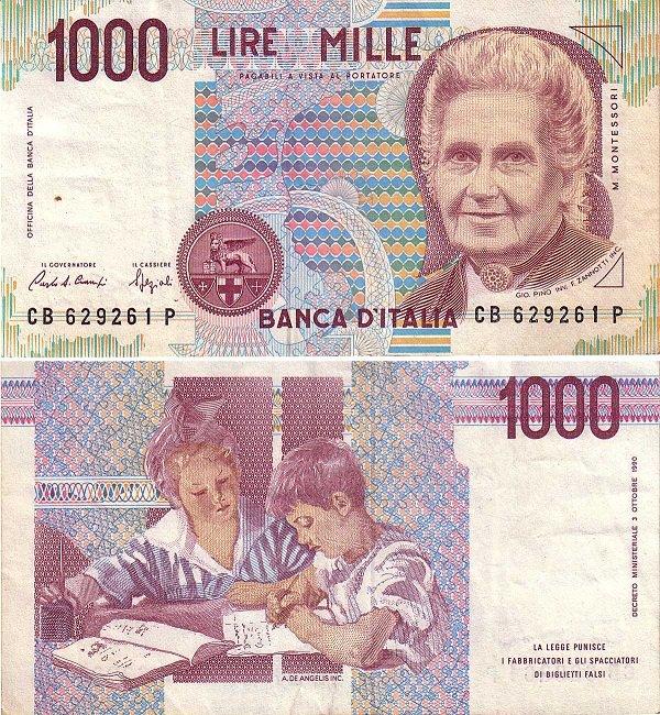 Мария Монтессори - деньги Италии