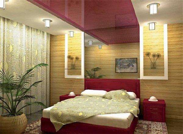 Натяжной потолок в спальне фото 2