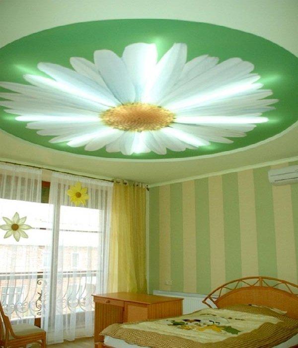 Натяжной потолок в спальне фото 5