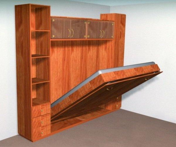 Для небольших размеров спальной комнаты компактным и правильным решением подойдет установка удобной кровати-шкафа. Шкаф-кровать своими руками сделать не сложно!