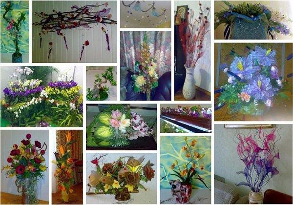 Композиции из искусственных цветов