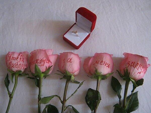 Розы и кольцо для помолвки.