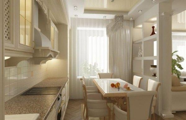 Дизайн кухни столовой и зонирование