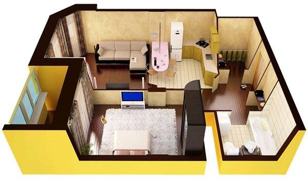 Перепланировка однокомнатной квартиры.