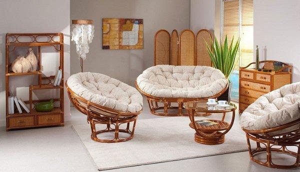 Плетеная мебель в интерьере формирует пространство