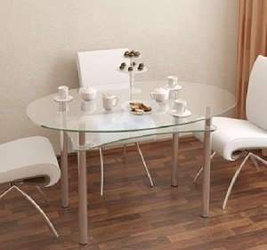 Стеклянный стол в интерьере квартиры