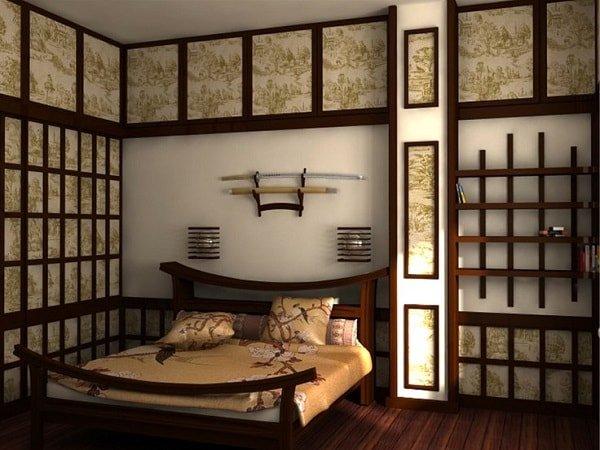 Восточно-японский стиль спальни