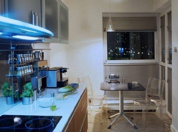 Идеи дизайна маленькой кухни в стиле хай-тек
