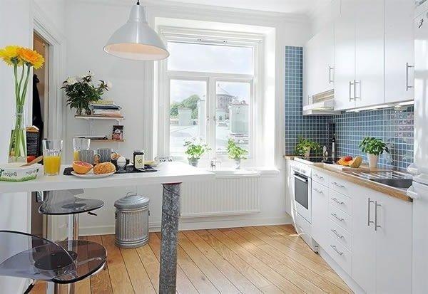 Идеи дизайна маленькой кухни в белом цвете