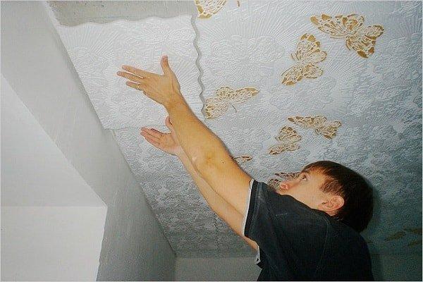 Потолочная плитка клеить своими руками