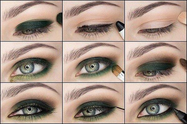 Макияж под зелёное платье