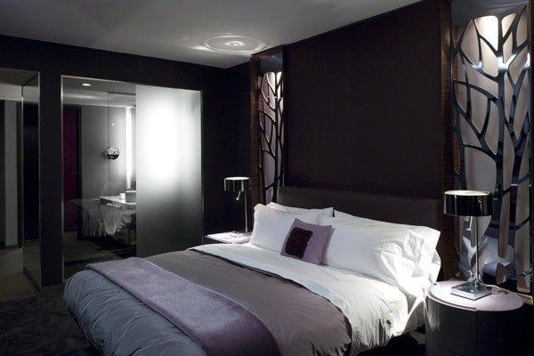 Дизайн спальни в темных тонах вариант 1