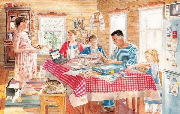 Счастливая русская семья живет в селе