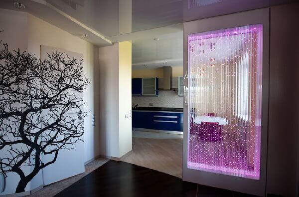 Перегородки в квартире из стекла или пузырьковой панели