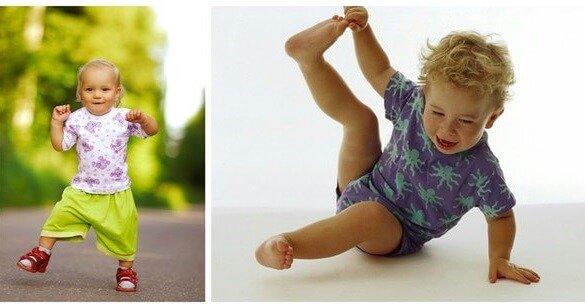 Ребенок учится ходить и падает.