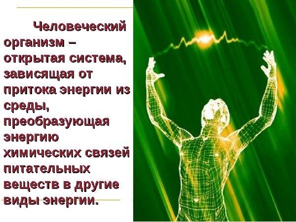 Энергия организма человека.